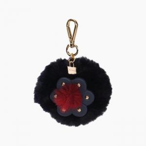 Декоративная подвеска пом-пон + цветок Темно-синий