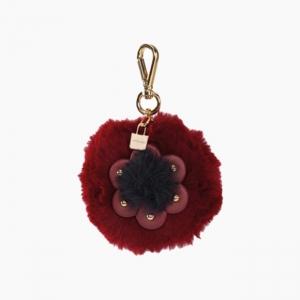 Декоративная подвеска пом-пон + цветок Бордо