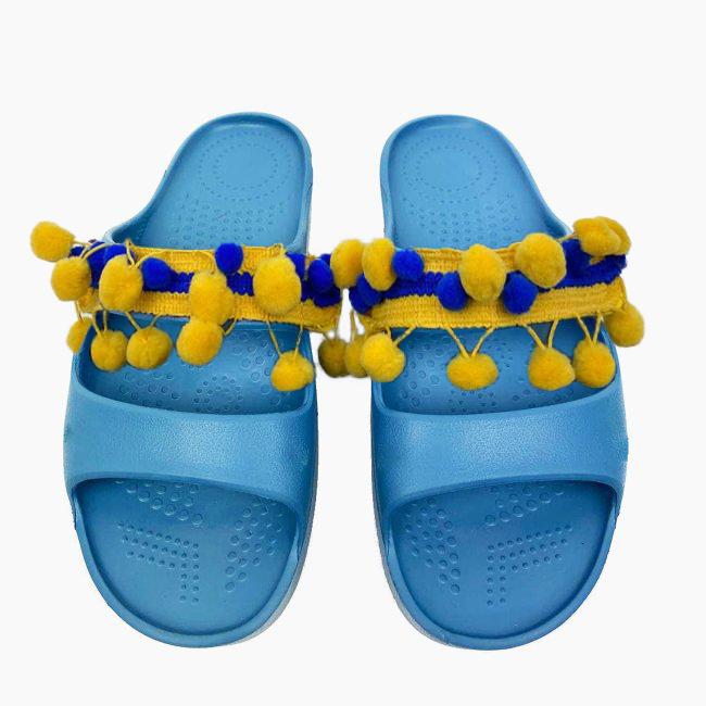 Декоративна накладка на Шльопанці O shoes пом-пон Жовтий-Синій