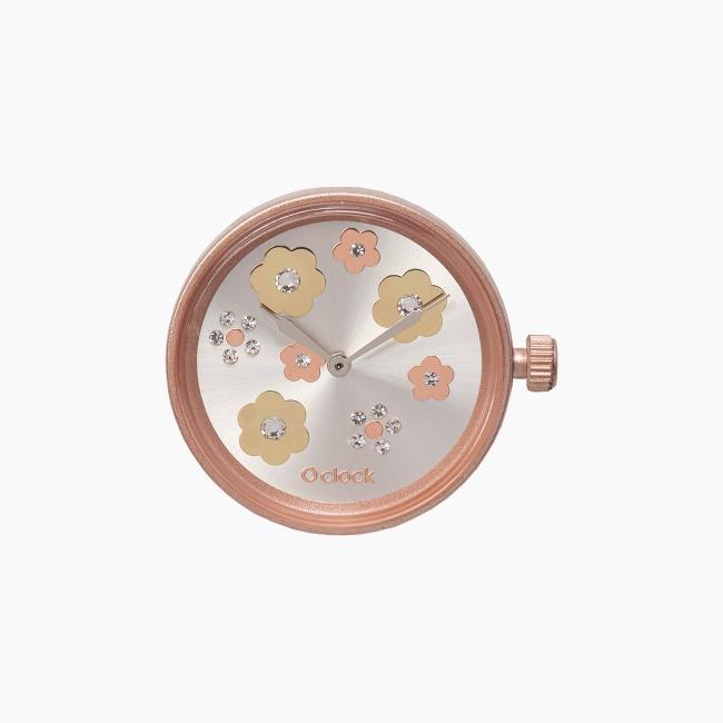 Циферблат O clock Flower Mix Crystal Рожеве золото