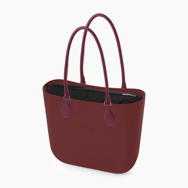 Жіноча сумка O bag classic   корпус бордо, підкладка мікрофібра, довгі ручки tubular