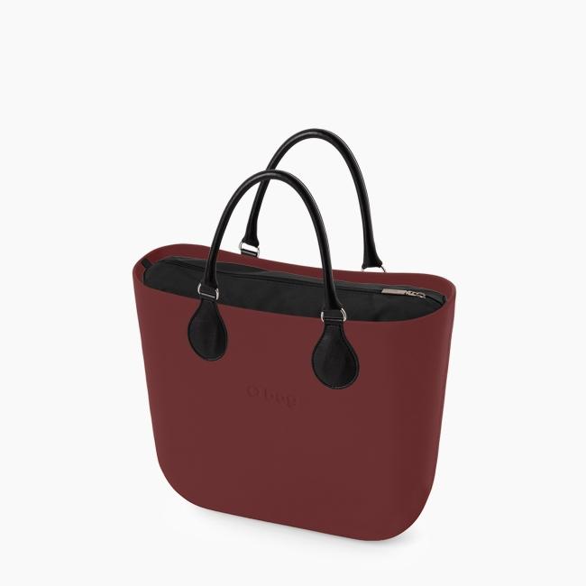 Жіноча сумка O bag classic | корпус бордо, підкладка мікрофібра, короткі ручки tubular