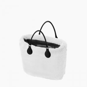 Жіноча сумка O bag classic | корпус рожевий дим, чохол екохутро лате, короткі ручки tubular