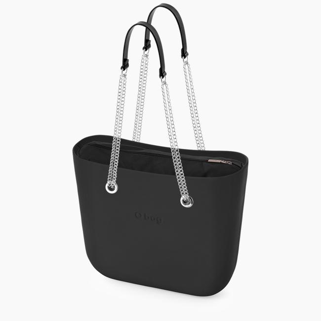 Жіноча сумка O bag classic   корпус чорний, підкладка текстиль, довгі ручки-ланцюжки OBAGB001EVS00055-OBAGS001TES01055-HLESCE01ECS00055