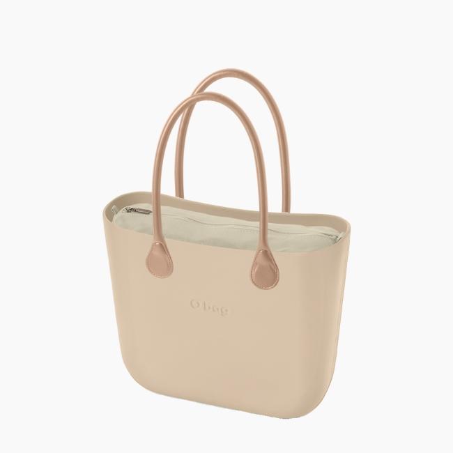 Жіноча сумка O bag classic | корпус пісок, підкладка текстиль, довгі ручки OBAGB001EVS00078-OBAGS001TES01054-HLESG000ECS01054