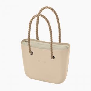 Жіноча сумка O bag classic | корпус пісок, підкладка текстиль, довгі ручки-канати