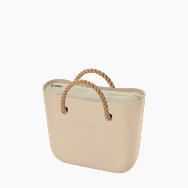 Жіноча сумка O bag classic | корпус пісок, підкладка текстиль, короткі ручки-канати