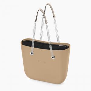 Женская сумка O bag classic | корпус песок, подкладка текстиль, длинные ручки-цепочки