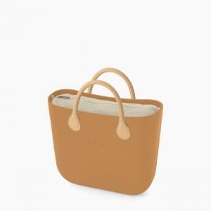 Жіноча сумка O bag classic | корпус кемел, підкладка текстиль, короткі ручки екошкіра