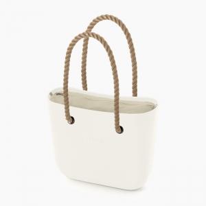 Жіноча сумка O bag classic | корпус лате, підкладка текстиль, довгі ручки-канати