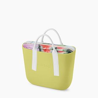 Жіноча сумка O bag classic | корпус світло-зелений, підкладка наппа з квітами, короткі ручки tubular плоскі наппа