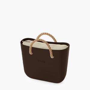 Жіноча сумка O bag classic | корпус темний шоколад, підкладка текстиль, короткі ручки-канати