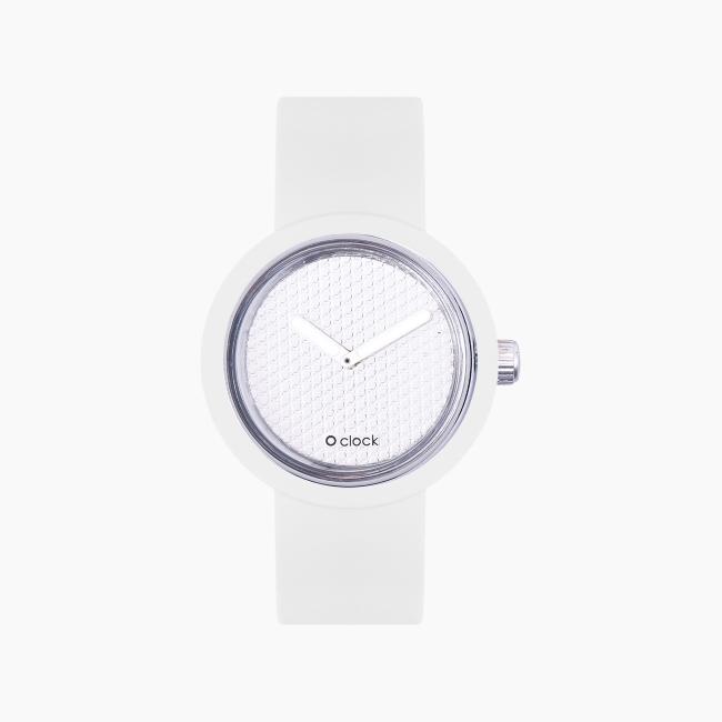 O clock | ремінець білий, циферблат Pave срібло OCLKD001MES02004-OCLKS007SIS01008