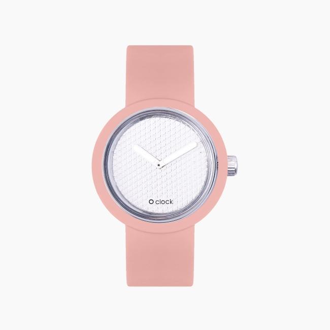 O clock | ремінець пудра, циферблат Pave срібло