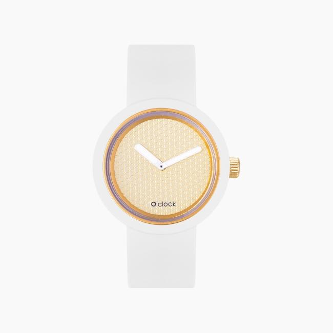 O clock   ремінець білий, циферблат Pave золото OCLKD001MES02061-OCLKS007SIS01008