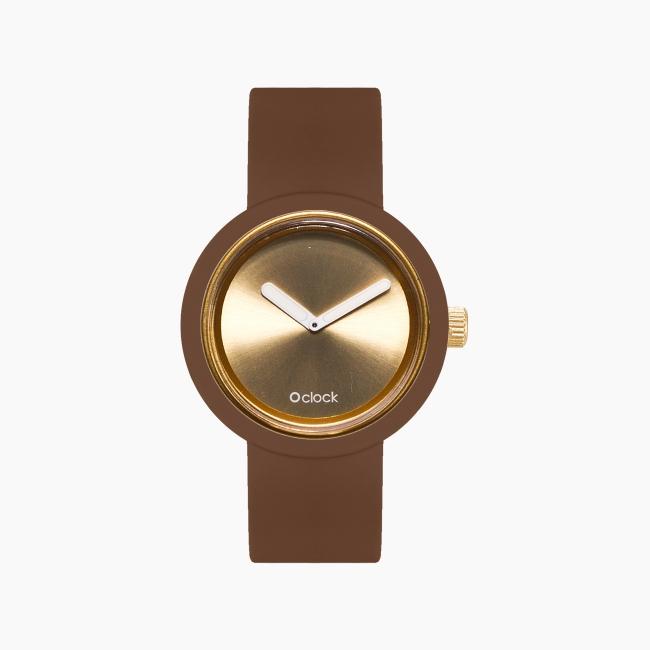 O clock   ремінець шоколад, циферблат Gold and Silver золото OCLKD001MES04061-OCLKS007SIS01024