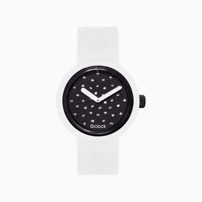 O clock | ремешок белый, циферблат Crystal черный