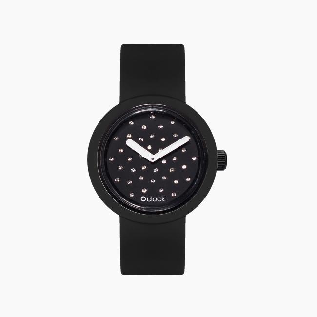 O clock | ремінець чорний, циферблат Crystal чорний OCLKD001MES09055-OCLKS007SIS01055