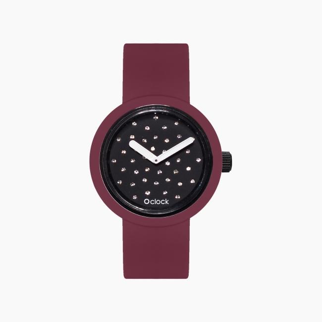 O clock | ремешок пурпурный, циферблат Crystal черный