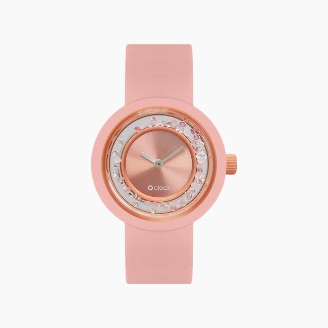 O clock   ремешок пудра, циферблат Shiny Crystals персиковый мусс