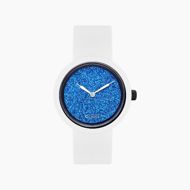 O clock   ремінець білий, циферблат Crystal Full Sky темно-синій
