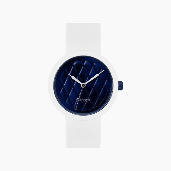 O clock | ремінець білий, циферблат Matelasse Темно-синій