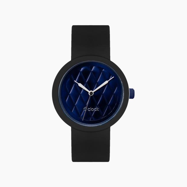 O clock | ремінець чорний, циферблат Matelasse темно-синій OCLKD001MESG7017-OCLKS007SIS01055