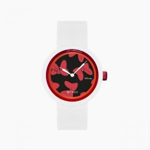 O clock | ремінець білий, циферблат All over Disney червоний