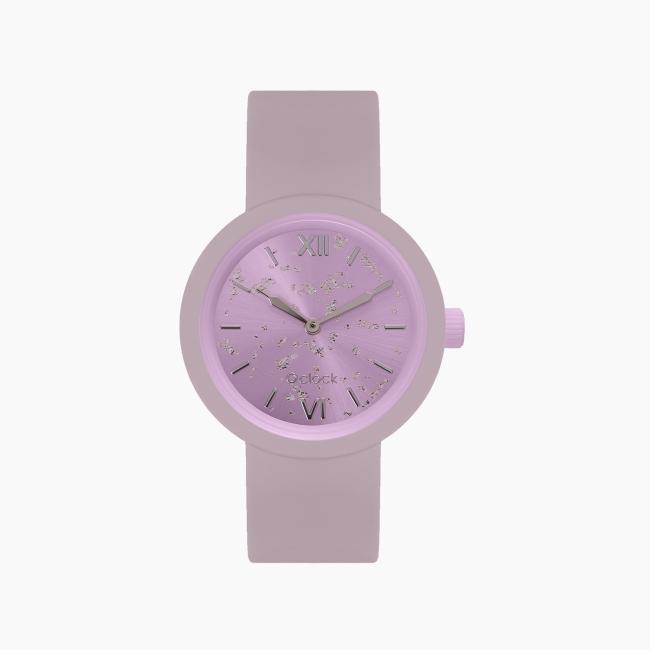 O clock   ремінець рожевий дим, циферблат Silver leaf валеріана