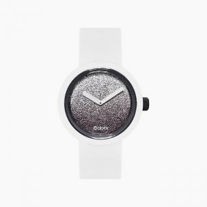 O clock | ремешок белый, циферблат Gold and Silver Glitter серебро