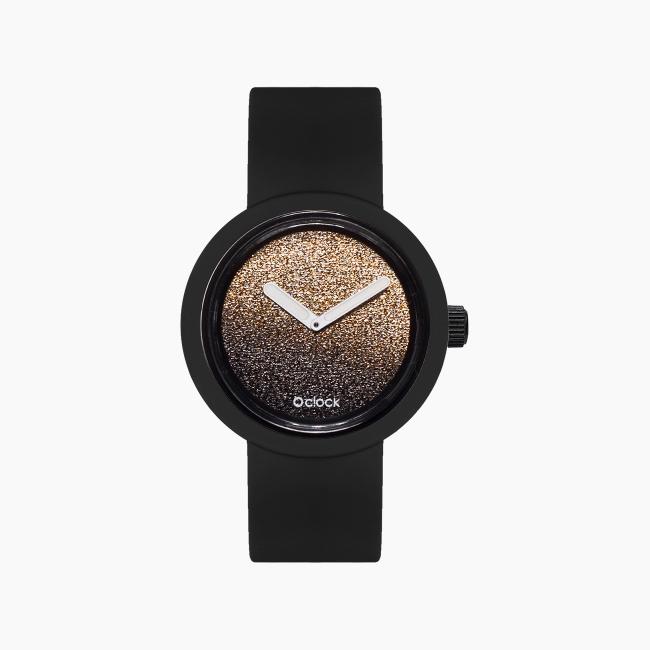 O clock | ремінець чорний, циферблат Glitter золото OCLKD001MES10061-OCLKS007SIS01055