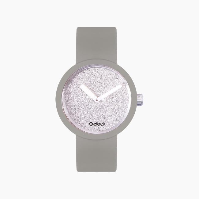 O clock | ремінець світло-сірий, циферблат Glimmer срібло