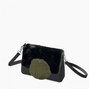 Жіноча сумка O bag glam | корпус чорний, фліп коло екохутро, ремінець