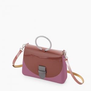 Жіноча сумка O bag glam   корпус смородина, фліп з мікроручкою лакований, ремінець