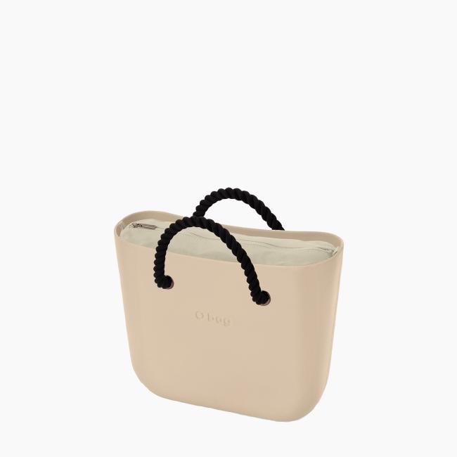 Жіноча сумка O bag mini | корпус пісок, підкладка текстиль, короткі ручки-канати OBAGB002EVS00078-OBAGS002TES01054-HLESGC00ROS00055