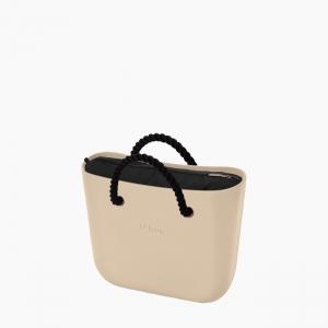 Жіноча сумка O bag mini   корпус пісок, підкладка текстиль, короткі ручки-канати