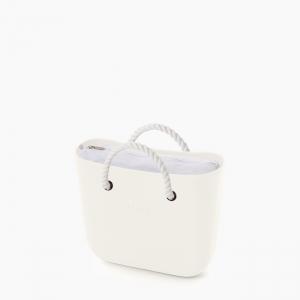 Жіноча сумка O bag mini   корпус лате, підкладка текстиль, короткі ручки-канати
