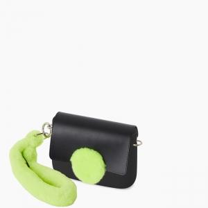 Жіноча сумка O pocket | корпус чорний, підкладка екохутро, фліп екохутро, декоративна ручка