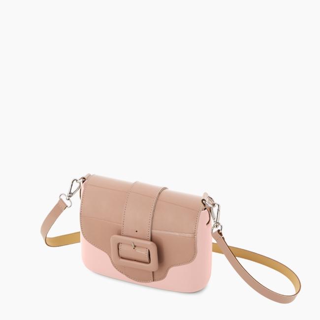 Жіноча сумка O pocket   корпус рожевий дим, фліп з пряжкою, ремінець