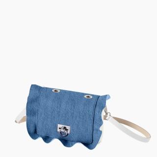 Жіноча сумка O pocket | корпус лате, фліп рюш, ремінець
