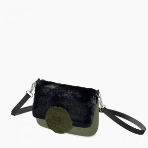 Жіноча сумка O pocket | корпус мілітарі, фліп коло екохутро, ремінець