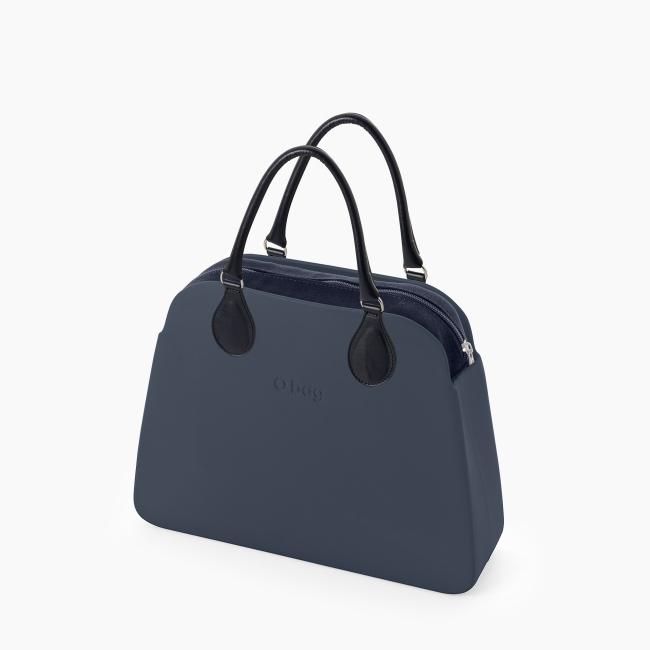 Жіноча сумка O bag reverse | корпус темно-синій, підкладка текстиль, короткі ручки tubular