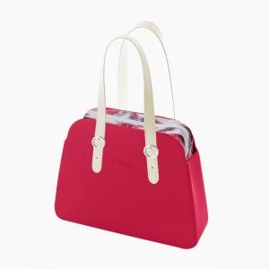 Жіноча сумка O bag reverse | корпус гренадін, підкладка крепдешин, довгі лінійні ручки