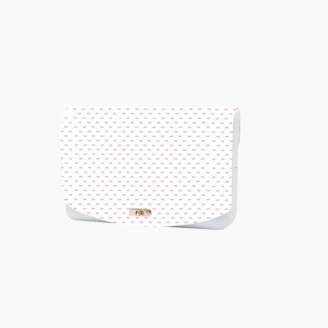 """Фліп O folder mini з орнаментом """"цукерка"""" Білий / Полуниця"""