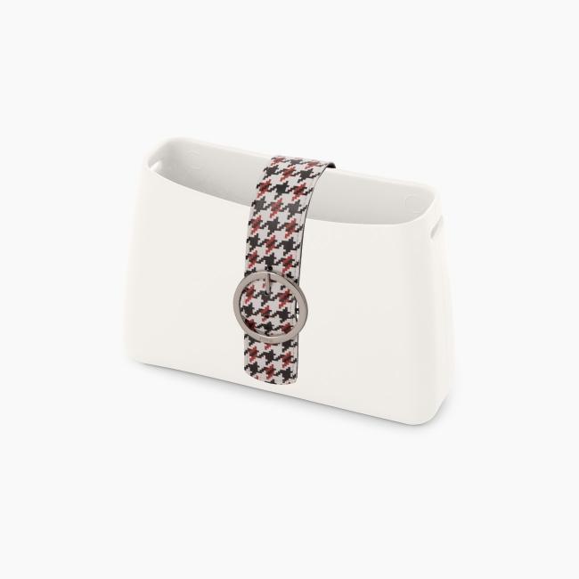 """Стрічка O bag glam з орнаментом """"pied de poule"""" Білий / Червоний / Чорний"""