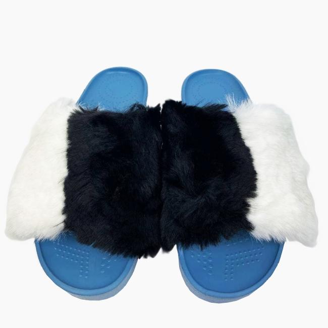 Декоративна накладка на Шльопанці O shoes кролик Чорно-Білий