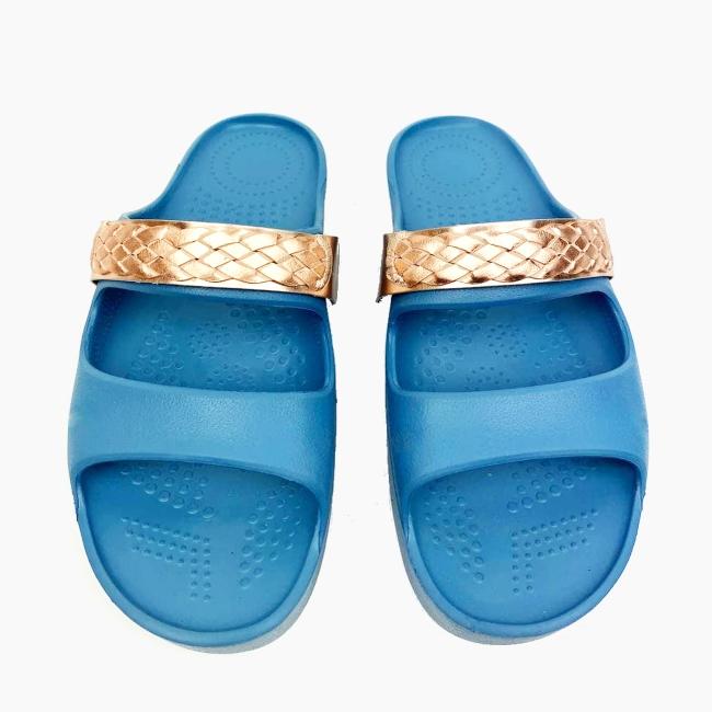 Декоративна накладка на Шльопанці O shoes плетена косичка Рожеве золото