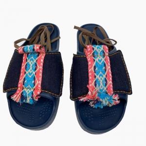 Декоративна накладка на Шльопанці O shoes Денім із зав'язками Синій