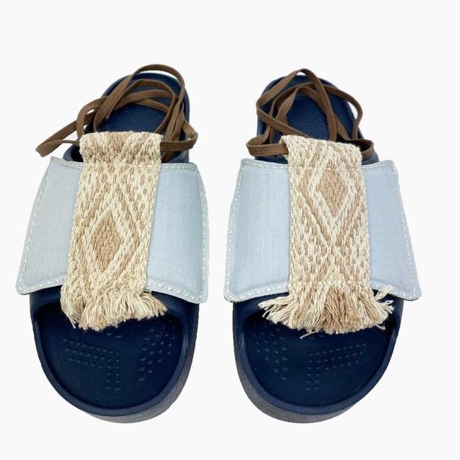 Декоративна накладка на Шльопанці O shoes Денім із зав'язками Блакитний