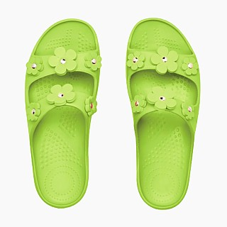 Шльопанці O shoes на високій платформі з квітами Яблуко